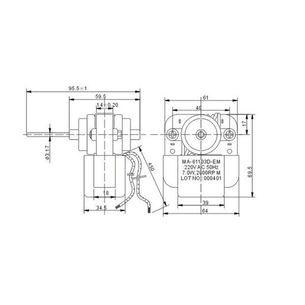 Shaded Fan Motor MA-61103D-EM
