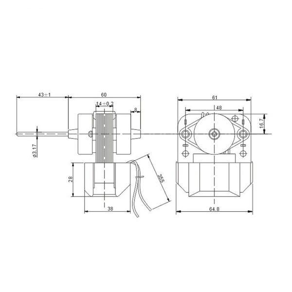 Shaded Fan Motor YZF-1-6.5-RD